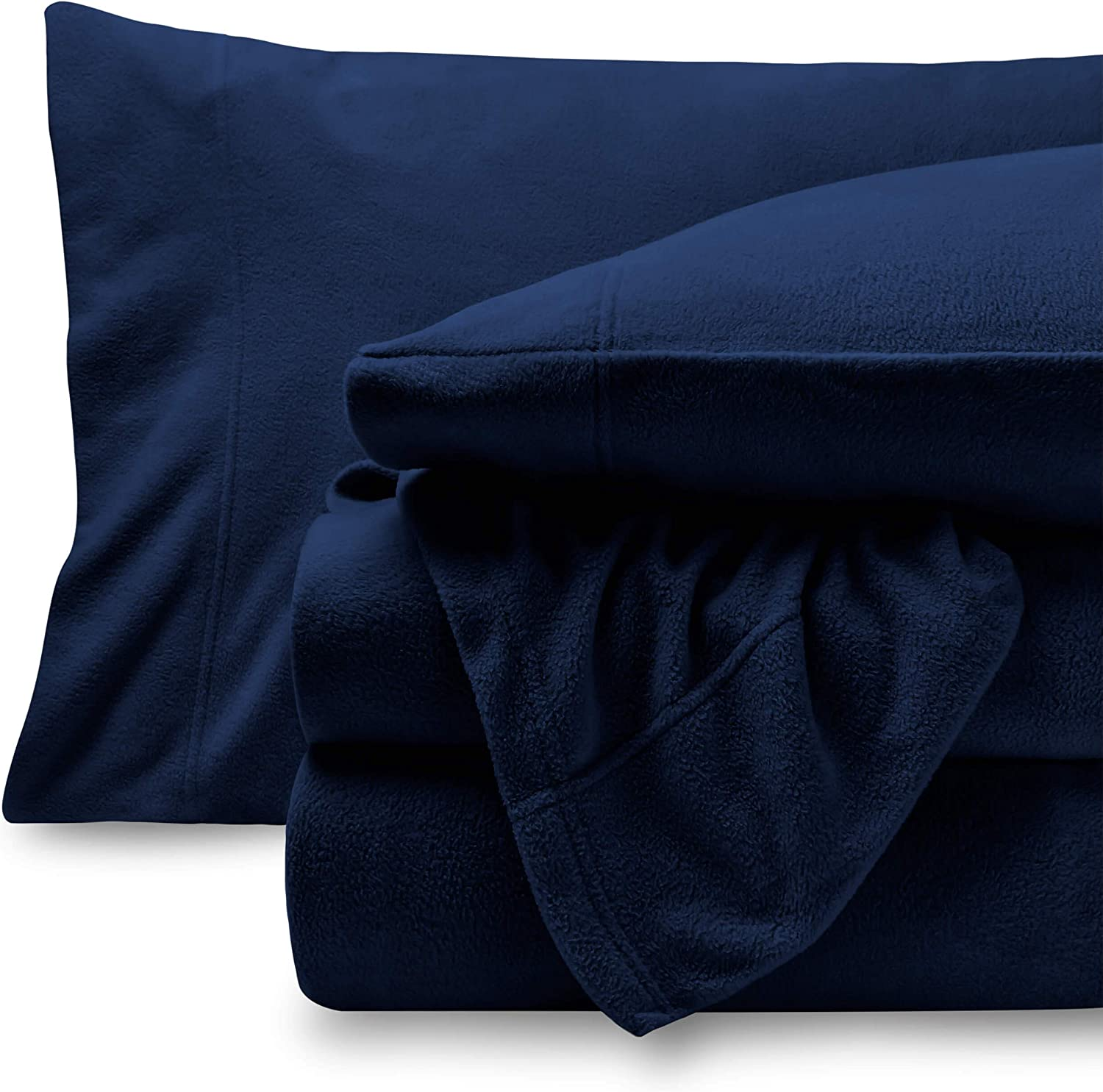 Bare Home Super Soft Fleece Sheet Set - Twin Extra Long Size - Extra Plush Polar Fleece, Pill-Resistant Bed Sheets - All Season Cozy Warmth, Breathable & Hypoallergenic (Twin XL, Dark Blue)