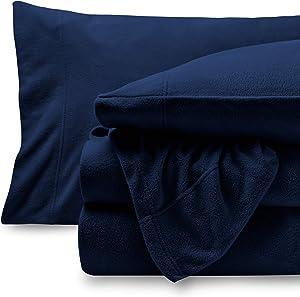 Bare Home Super Soft Fleece Sheet Set - Twin Extra Long Size - Extra Plush Polar Fleece, Pill-Resistant Bed Sheets - All Season Cozy Warmth, Breathable & Hypoallergenic (Twin XL, Dark Blue)