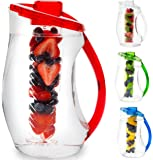 Water Infuser Pitcher & Gourmet Recipe eBook (Emailed) | BPA Free Fruit Infusion Pitcher with Glass Like Appearance and Largest 3+ Liter Capacity for Amazing Spa Water (Red)