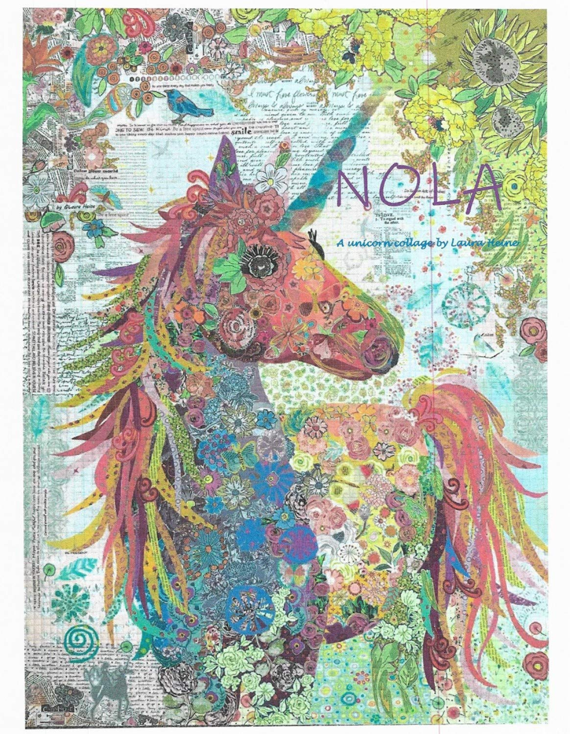Nola Unicorn Collage Applique Quilt Pattern by Laura Heine from Fiberworks Inc. 35'' x 47'' LHFWNOLA by Fiberworks