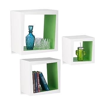 Hervorragend Relaxdays Wandregal 3er Set Quadratisch 25cm Tiefe Bücher CDs DVDs  Wohnzimmer Kinderzimmer Deko, Weiß