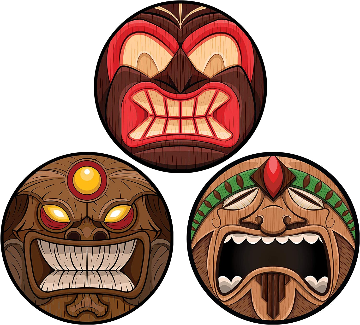 Hawaiian Tiki Style Face Mask Car Magnets, Tropical Magnetic Decoration Decal for Locker or Fridge, Set of 3, 3 3/4 Inches