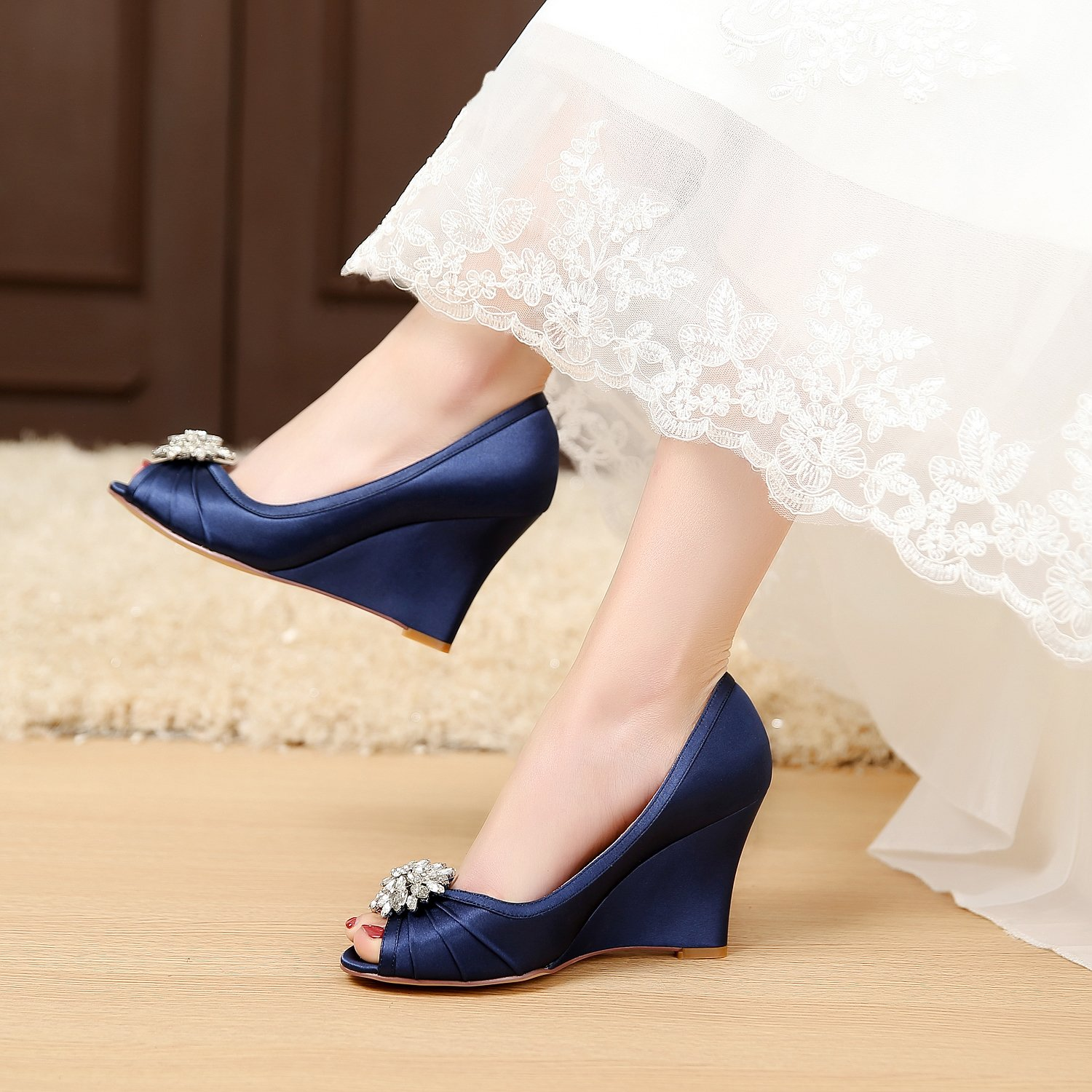 Amazon.com | LUXVEER Ivory Wedding Wedges with Silver Rhinestone ...