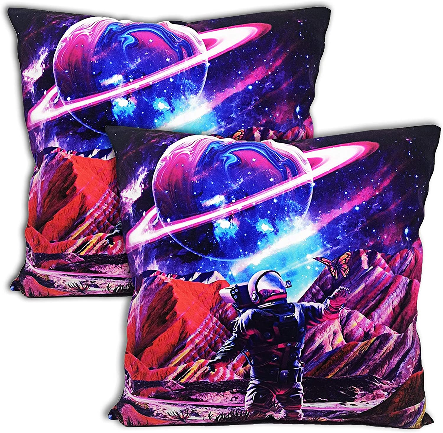 Throw Pillowcase 18x18 Set of 2 for Childs,Space Astronaut Funny Pillow Case Cover for Kids,Boys Girls Room Decor Chair, Sofa, Bed, Bedding, Seat Decoration (Trippy Planet)