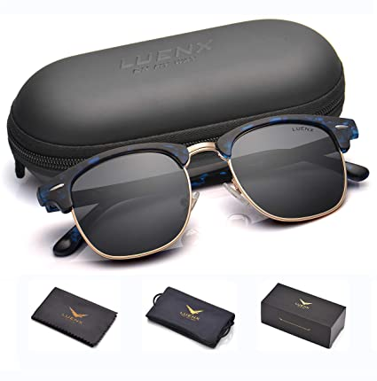d0c03deb1a42 Image Unavailable. Image not available for. Color  LUENX Men Semi Rimless Polarized  Sunglasses Women UV 400 Protection Black Lens Tortoise Blue Retro Frame