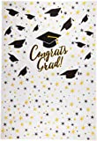 Graduation Photo Backdrop - Photo-Booth Background with Congrats Grad and Graduation Cap Design, White Photography Party Background, 5 x 7 Feet