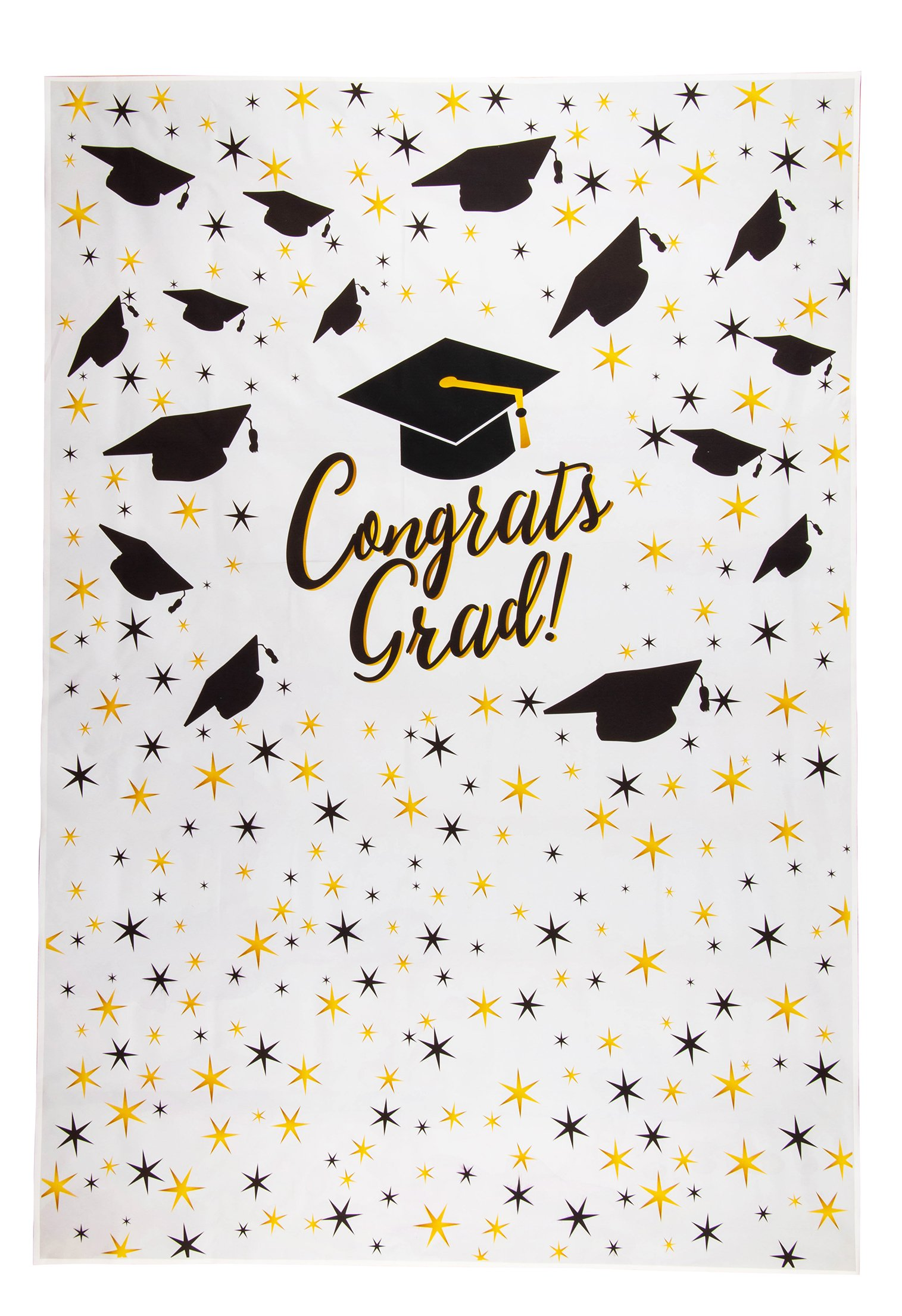 Graduation Photo Backdrop - 2018 Photo-Booth Background with Congrats Grad and Graduation Cap Design, White Photography Party Background, 5 x 7 Feet