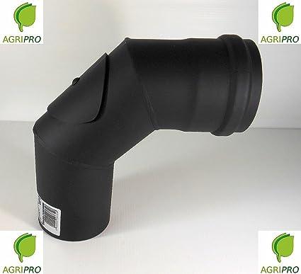 Curva 90 ° ispezionabile Tubo Desagüe Caperuza diámetro 80 para estufa de pellets caña liberación
