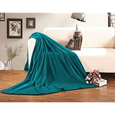 Elegant Comfort  Luxury Velvety Softness Fuzzy Plush Micro-Velour Ultra-Soft Blanket 100% Hypoallergenic, King/California King, Teal