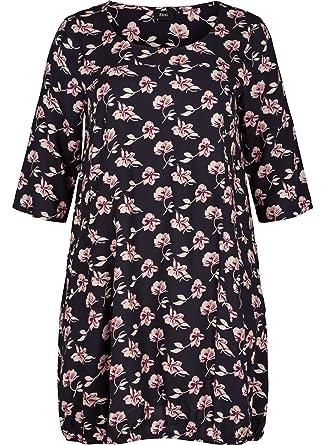 83556fc03ae243 Zizzi Damen Kleid 3/4 arm Mit Blumenmuster Blusenkleid, Große Größen 42-56