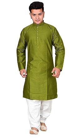 566eca203e Amazon.com: Mens Indian stripe cotton silk Plain Kurta salwar kameez pajama  sherwani 1816: Clothing