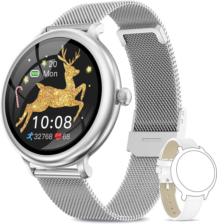 NAIXUES Smartwatch Mujer, Reloj Inteligente Impermeable IP68, Pulsera de Actividad Inteligente con Monitor de Sueño Pulsómetro Podómetro Contador de Caloría para Android iOS (Plata)
