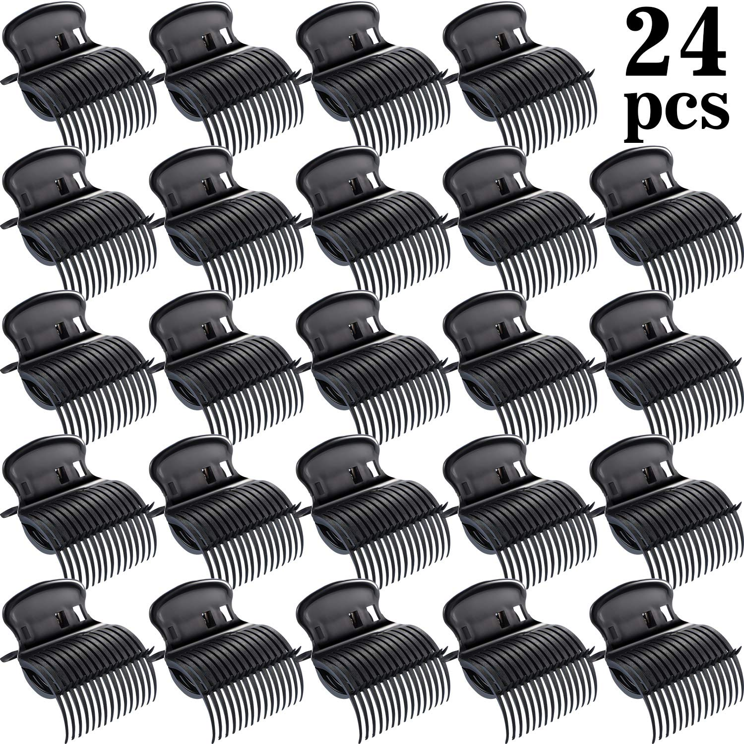 24 Pieces Hot Roller Clips Hair Curler Claw Clips Replacement Roller Clips for Women Girls Hair Section Styling (Black)