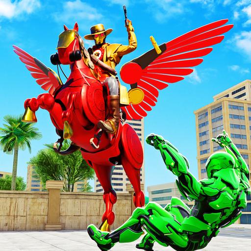 Flying Horse Transform Robot Cowboy Robot Games - Super Robot Battle With Robot Transforming Games. Download Mech Robot Fighting Games Free & Enjoy Futuristic Robot Shooting Games (Mech Games)