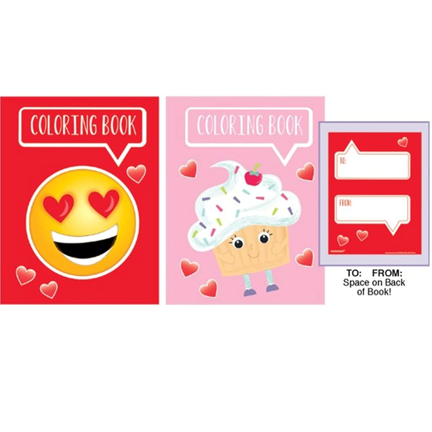 Amazon.com: Valentines Emoticon Coloring Pages and Pencils, set of ...