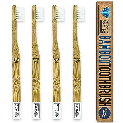 Premium bambú cepillo de dientes Kids Juego de 4 – luz blanca cerdas suaves – 100