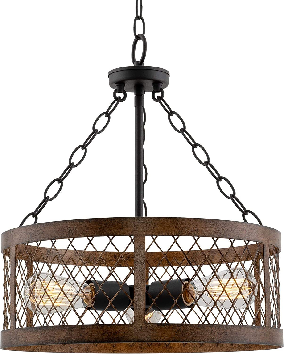 "Kira Home Warwick 16"" Modern Rustic 3-Light Chandelier + Metal Lattice Shade, Mission Wood Style Frame, Black Finish"