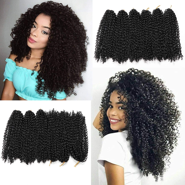 Amazon Com 12 Inch Marlybob Crochet Hair 6 Small Bundles Kinky Twist Crochet Hair Crochet Braids Jerry Curly Crochet Hair Extensions Kinky Curly Crochet Hair Ombre Synthetic Braiding Hair 1b Beauty