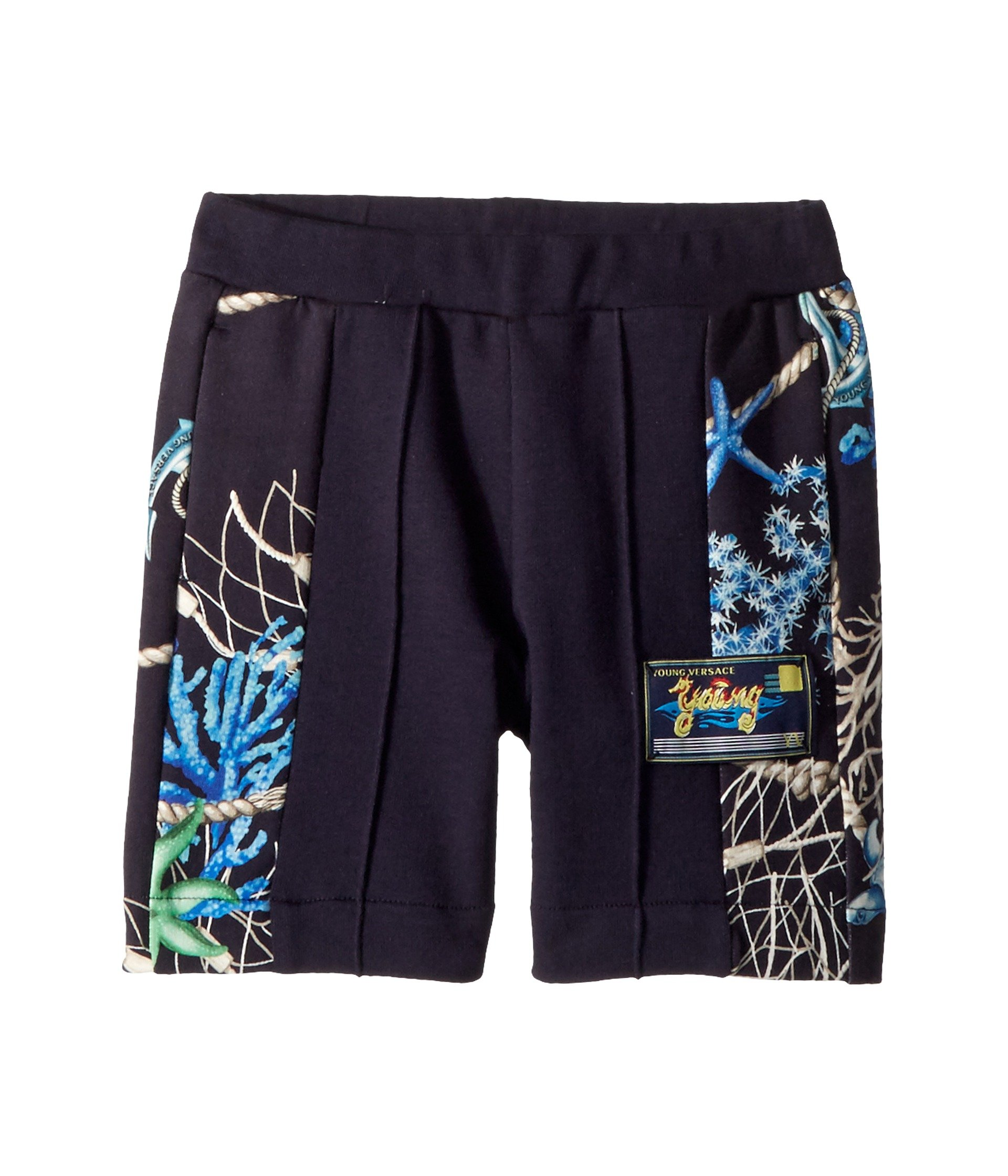 Versace Kids Baby Boy's Shorts w/Sea Shore Design on Sides (Toddler/Little Kids) Navy 4A