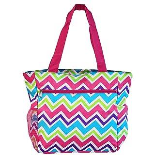 World Traveler 13.5 Inch Beach Bag, Pink Trim Chevron Multi, One Size