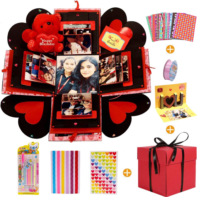 MMTX Caja de Regalo Creative Explosion Box, DIY Álbum de Fotos Scrapbook 5.9x5.9x5.9 Inche Álbum de Fotos de Scrapbooking Caja de Regalo para Cumpleaños Día de San Valentín Aniversario Navidad…