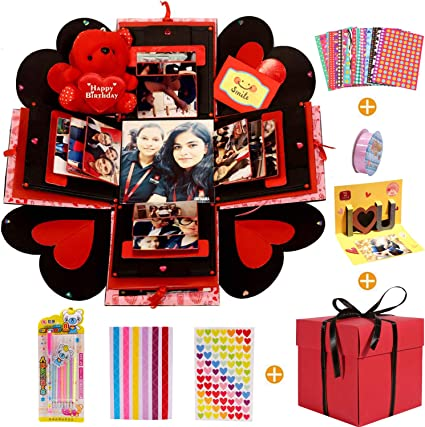 MMTX Caja de Regalo Creative Explosion Box, DIY Álbum de Fotos Scrapbook 5.9x5.9x5.9 Inche Álbum de Fotos de Scrapbooking Caja de Regalo para Cumpleaños Día de San Valentín Aniversario Navidad…: Amazon.es: Hogar