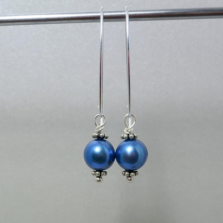Perlen Ohrringe royalblau - lange blaue Ohrringe - Süßwasserperlen ...
