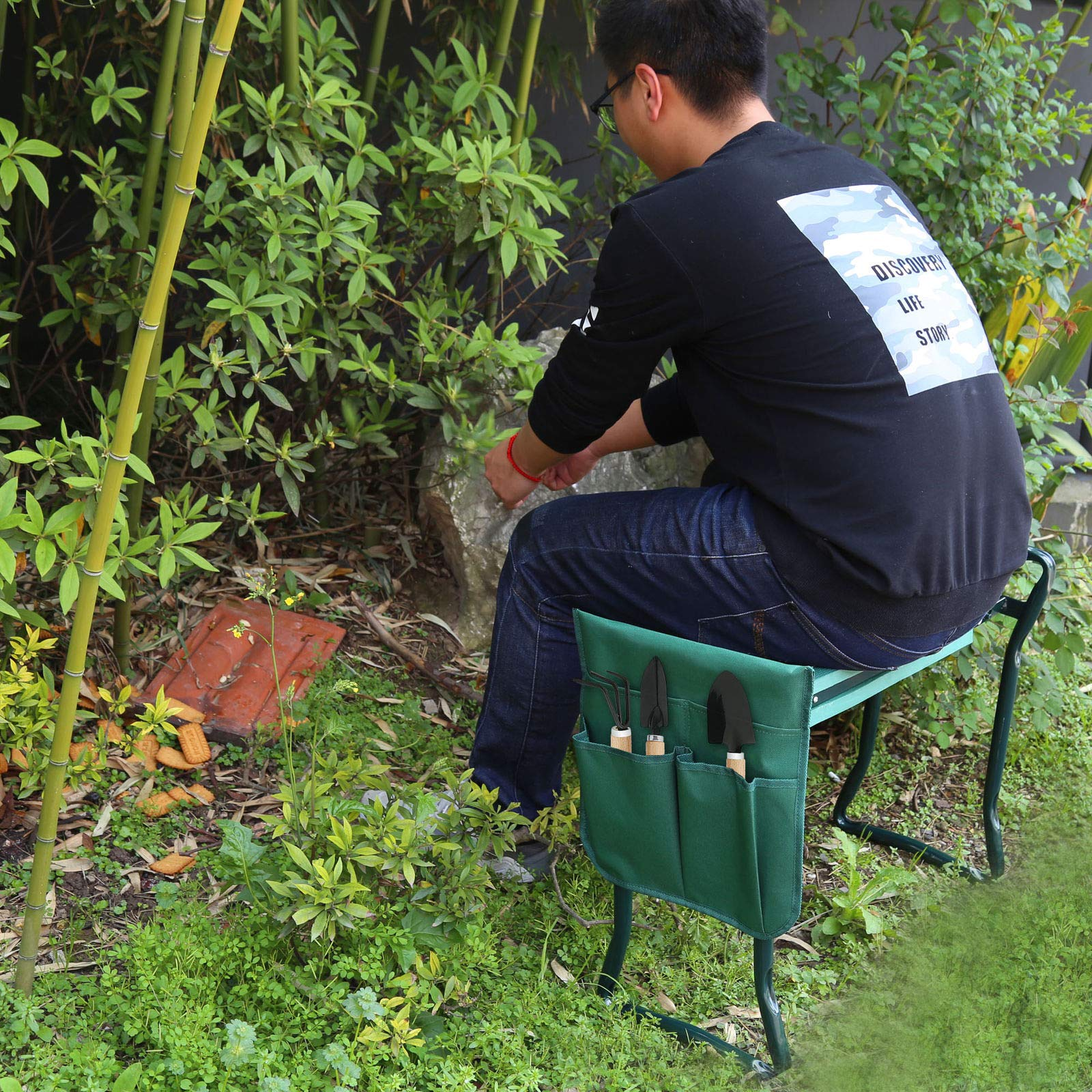 Has_Shop Garden Bench Foldable Kneeler Stool Soft Cushion Seat Pad Kneeling w Tool Pouch by Has_Shop (Image #2)
