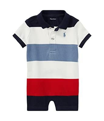 RALPH LAUREN Baby Boys Striped Cotton Polo Romper - Hunter Navy Multi (3  Months)