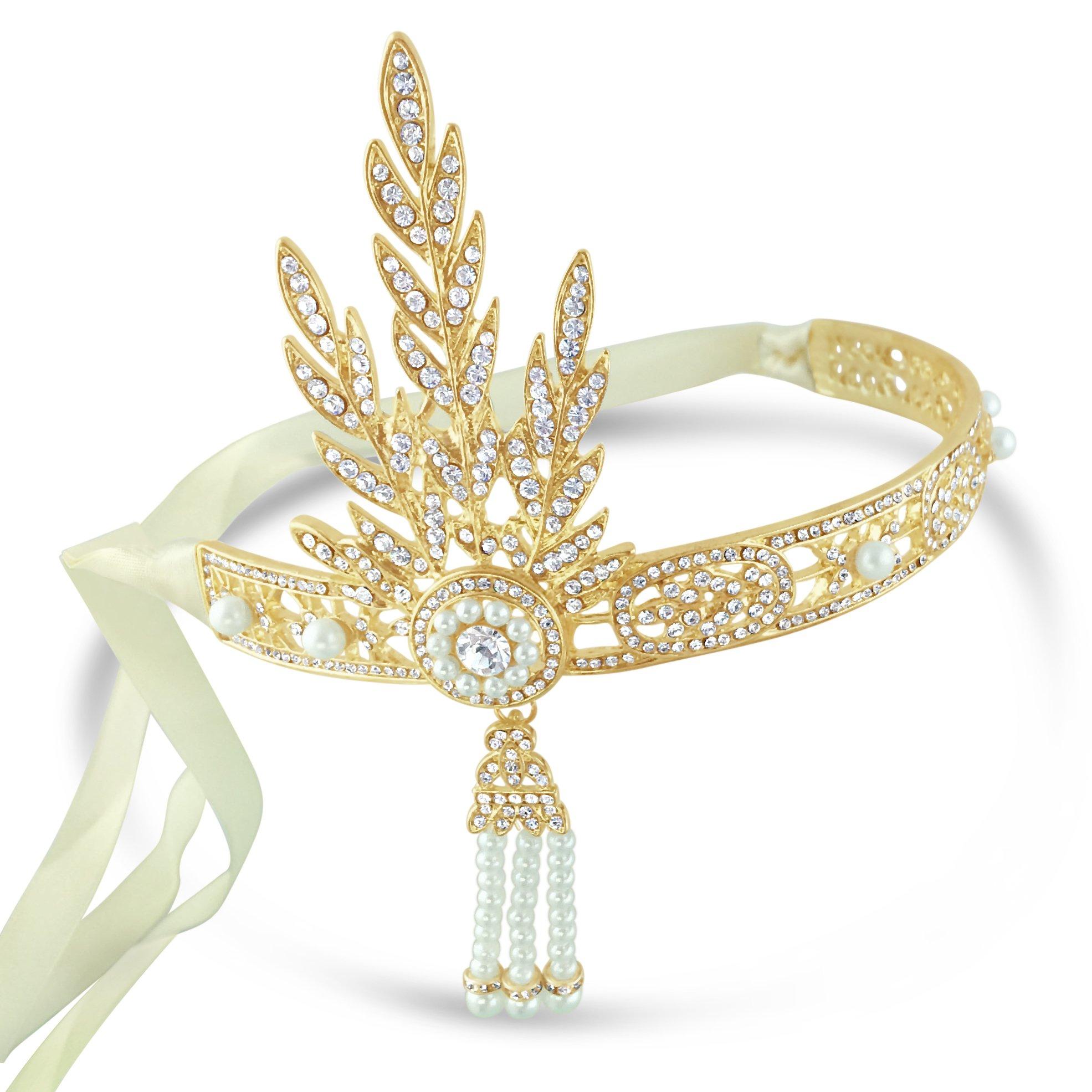 Gatsby Gold Pearl Daisy Buchanan Style 1920s Flapper Headband Headpiece