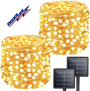 KAQ 2-Pack 300LED Super Bright Solar String Lights Outdoor (Upgraded Oversize Beads) 8 Modes Christmas Lights Waterproof Fairy Lights for Christmas, Wedding, Party (Warm White)