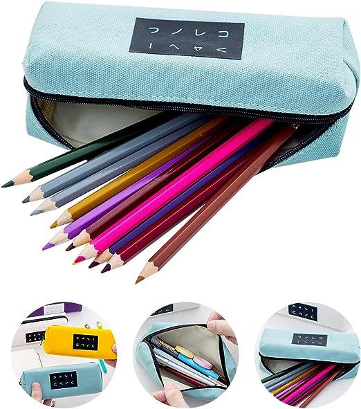 Aolvo Kawaii Estuche para lápices, estilo japonés, con cremallera, gran capacidad, color caramelo, lona para mujeres, maquillaje, herramientas, organizador de almacenamiento para niños, escuela, lápiz: Amazon.es: Hogar