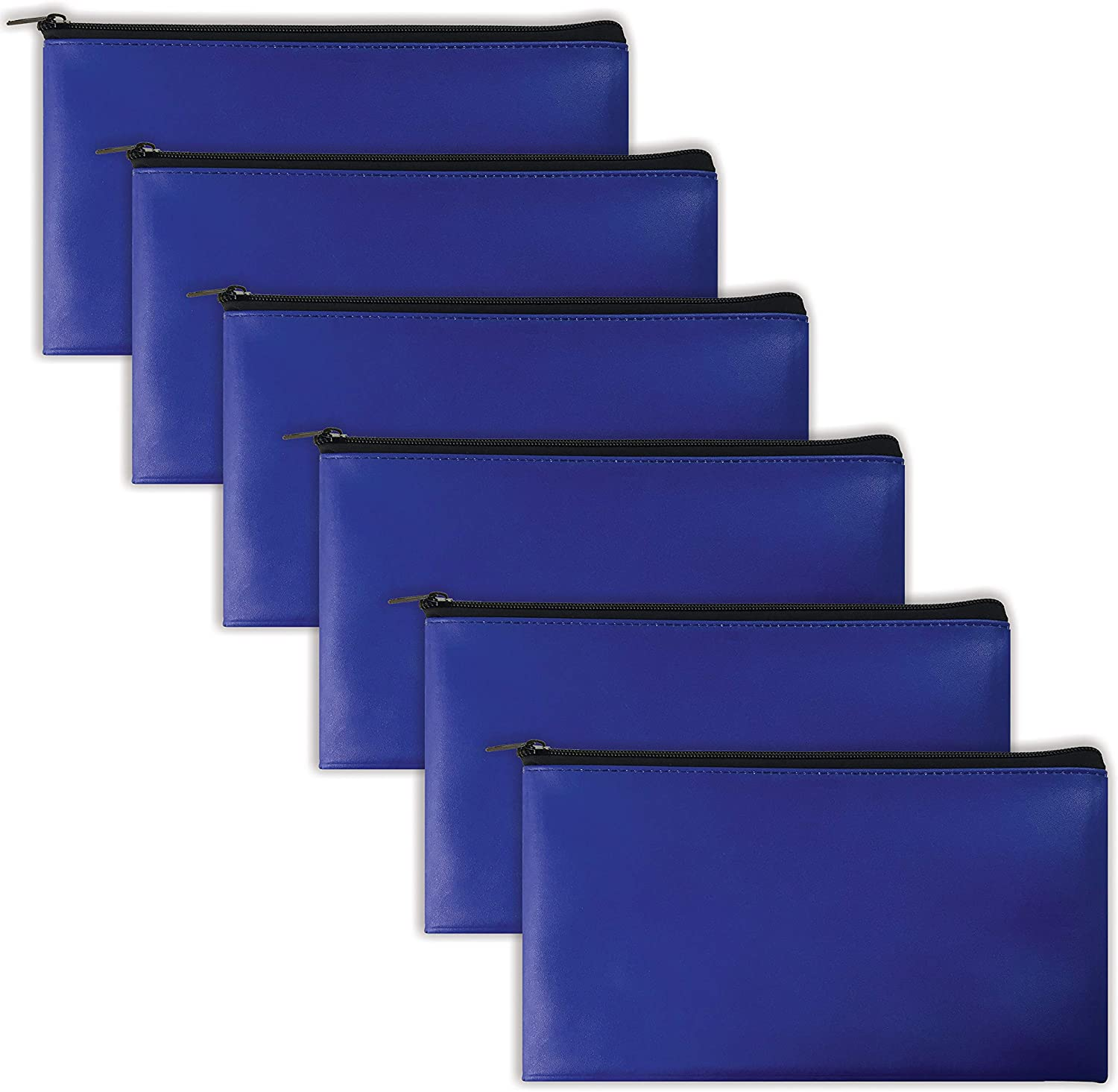 6 Pack, Zippered Security Bank Deposit Bag, by Better Office Products, Leatherette, Cash Bag, Coin Bag, Utility Pouch, Blue, 6 Bags