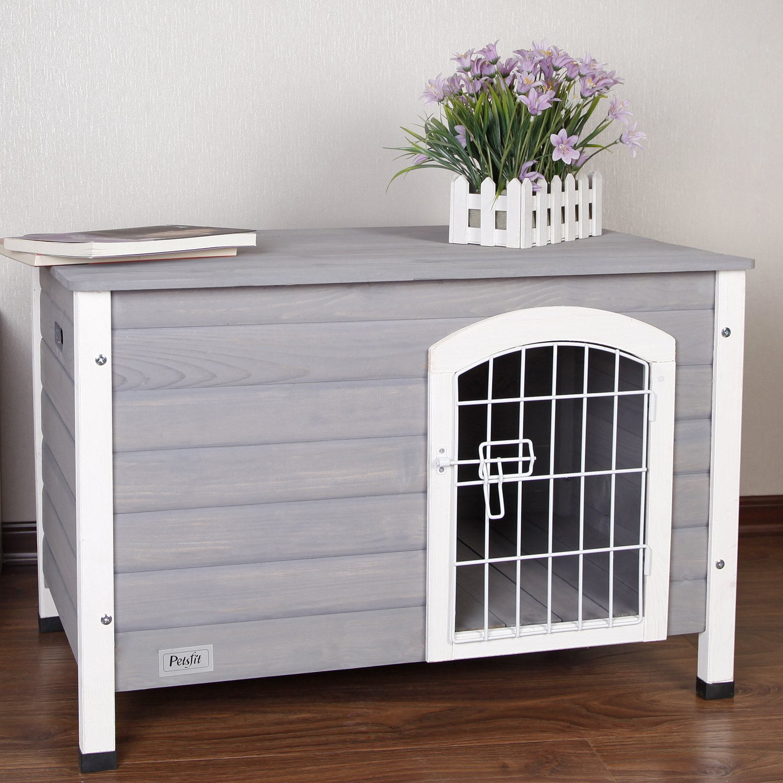 Petsfit 31.5'' Lx21.5 Wx21 H Indoor Dog House Wooden With Door For Small Dog Color Grey