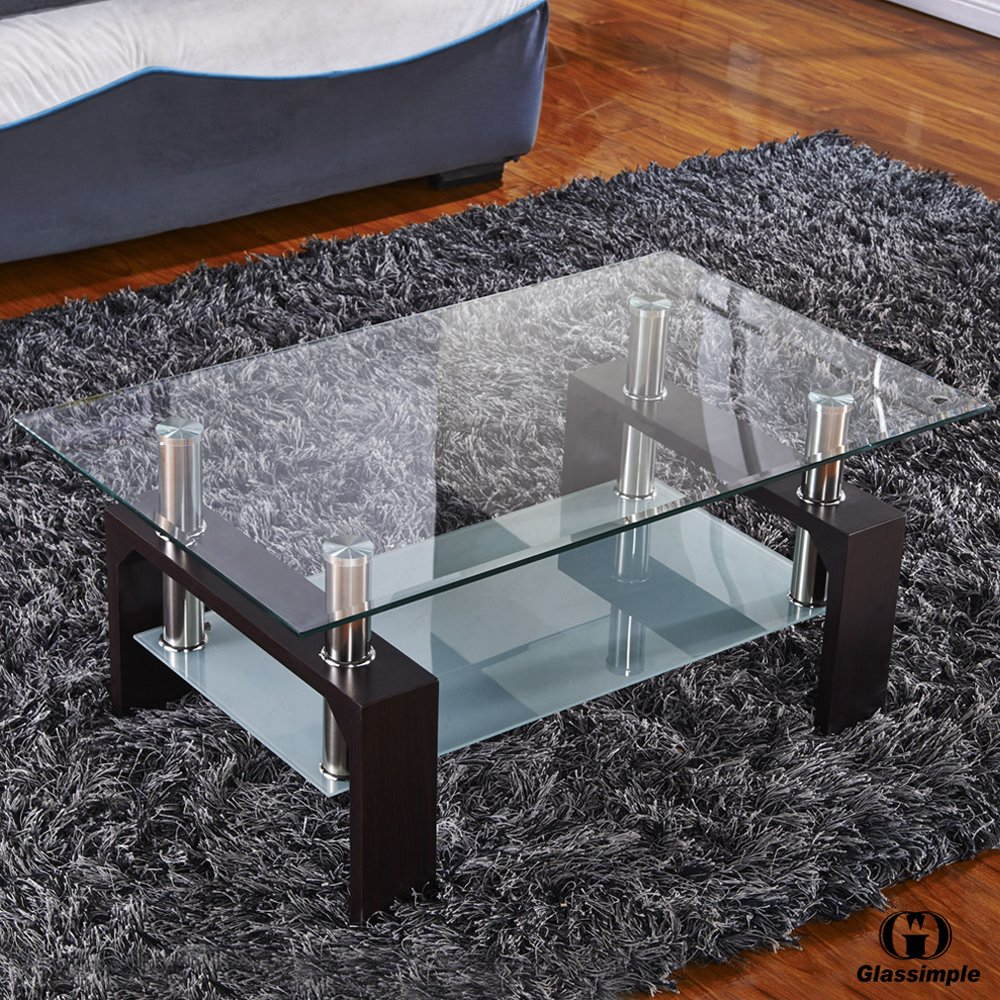 Amazon.com: VIRREA Rectangular Glass Coffee Table Shelf Wood Living Room  Furniture Chrome Base Walnut: Kitchen U0026 Dining