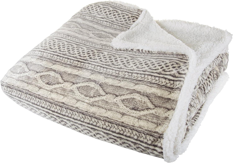 Lavish Home Flannel/Sherpa Blanket, King, Grey/Beige