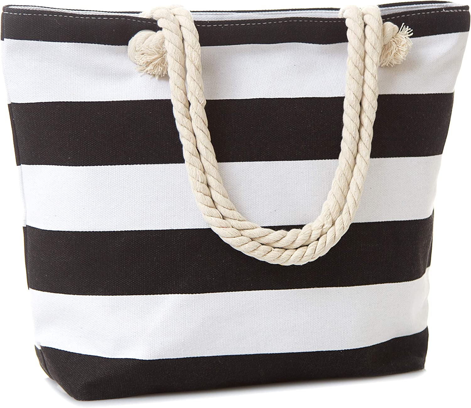 Leisureland Canvas Tote Beach Bag, Rope Handle Water Resistant Shoulder Bag (Black Stripe)