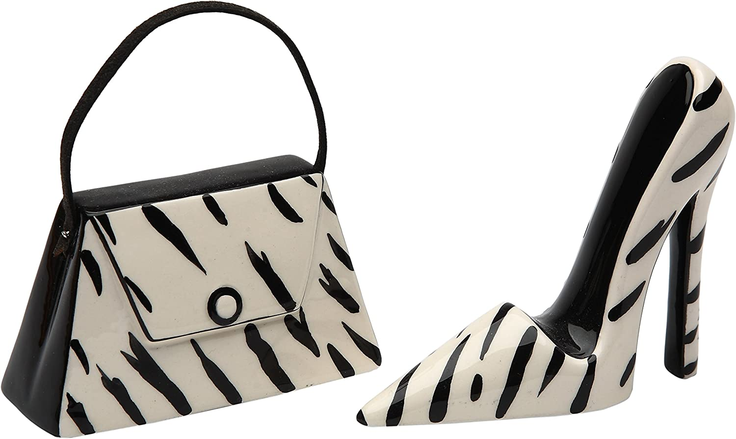 StealStreet SS-CG-62807, 3.5 Inch Black and White Zebra Print Purse and Heel Salt and Pepper