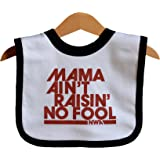 Mama Ain't Raisin' No Fool White Ringer baby bib. Hip Hop baby gift tribute to 2Pac. Ages 0-18 months