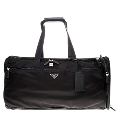 bd07eae47ea0 Image Unavailable. Image not available for. Color: Prada Women's Nylon and  Leather Trolley/Duffle Bag Black