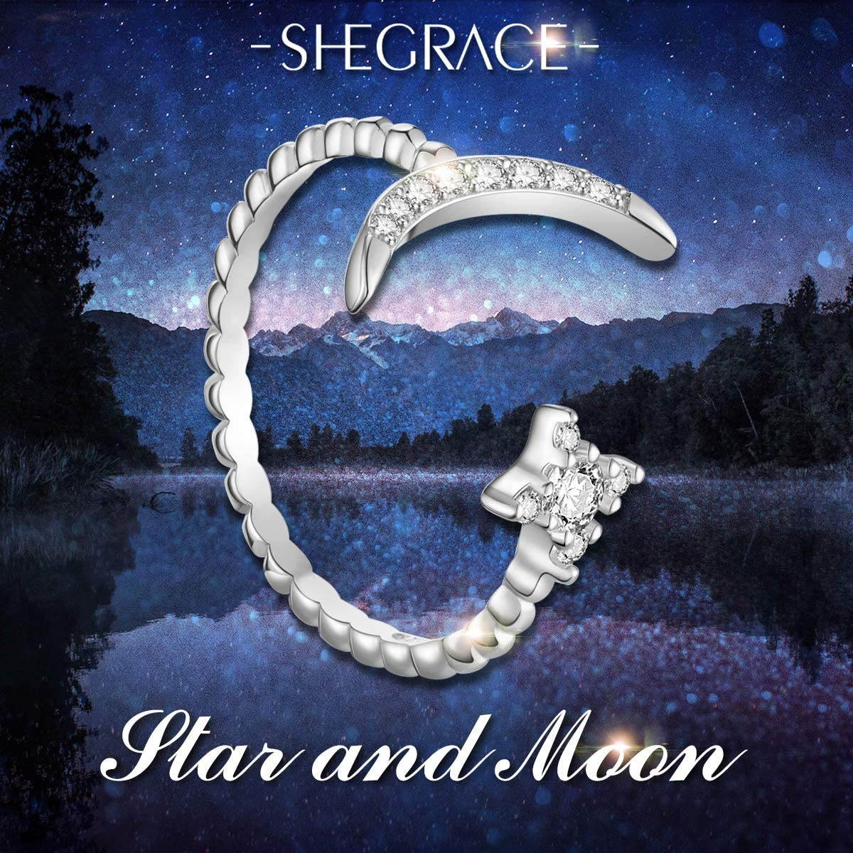 SHEGRACE Moon Open Ring with Cubic Zirconia 925 Sterling Silver Rings for Woman//Girls,Adjustable