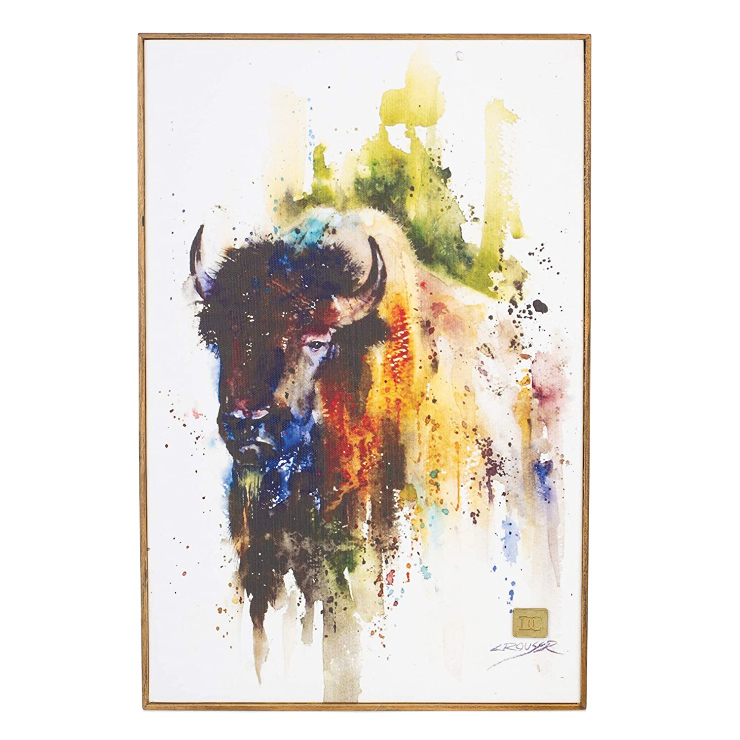 DEMDACO Dean Crouser American Bison Gallery Wrapped Canvas Print 10 x 15 Ash Wood Framed Wall Art Plaque