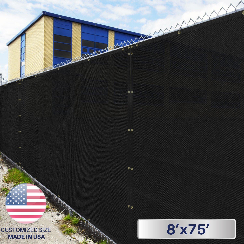 Windscreen4less Heavy Duty Privacy Screen Fence in Color Solid Black 8' x 75' Brass Grommets w/3-Year Warranty 150 GSM (Customized Size)