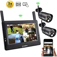 """SEQURO GuardPro DIY Surveillance System with 7"""" Wireless Touchscreen Monitor and 2 Outdoor/Indoor IP66 Weatherproof HD Security Cameras"""