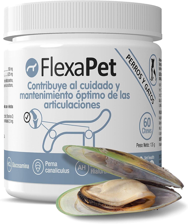 Flexapet - petia Vet health - Condroprotector para Perros y Gatos con Sistema Digestivo Sensible - Bote 60 chews