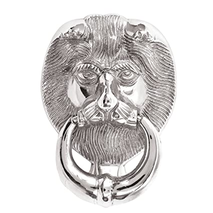 Large Lions Head Front Door Knocker Polished Chrome Silver