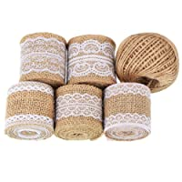 Whaline 11 Yards/ 396 Inches Natural Burlap Rolls with Lace and 130 Feet Jute Twine for DIY Handmade Wedding Crafts Lace Linen