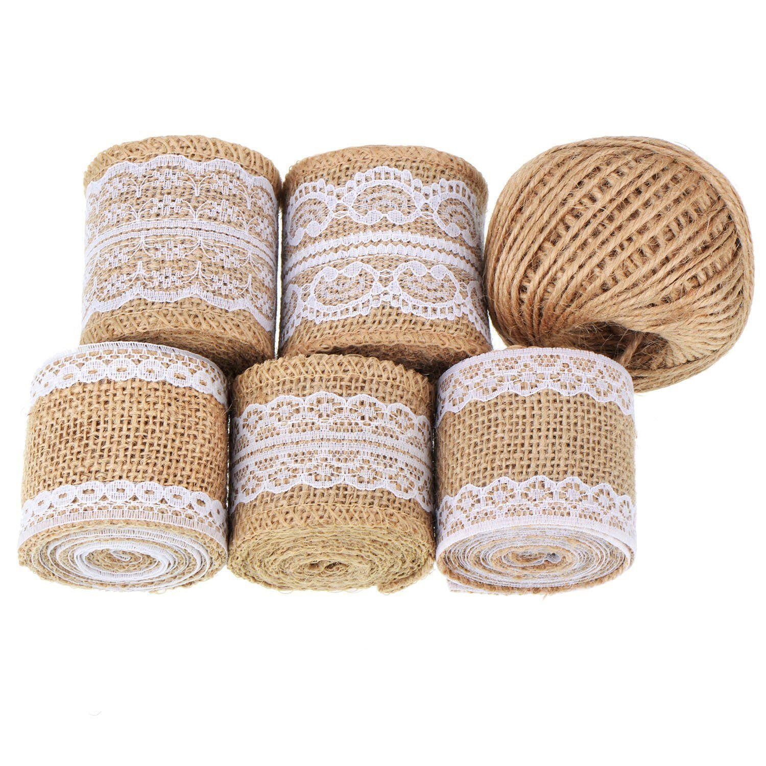 Natural Burlap Rolls With Lace And Jute Twine For Handmade
