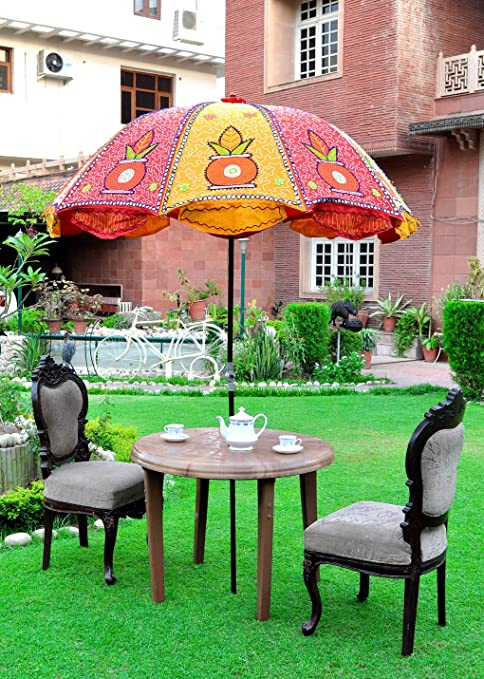 Lalhaveli Outdoor Embroidered Cotton Sun Protection Umbrella 52 X 72 Inches
