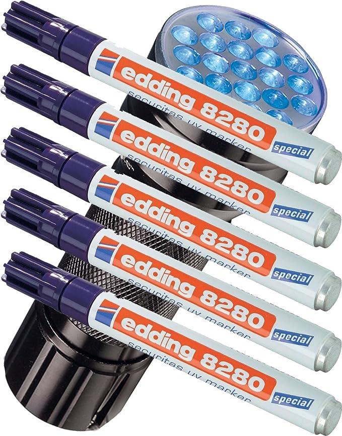 Edding 8280 - Rotulador especial Securitas UV de luz ultravioleta, 1,5 - 3 mm, transparente, UV Marker + UV Lampe, 2 unidades: Amazon.es: Iluminación